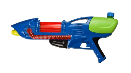 Blue plastic water squirt gun isolated on white