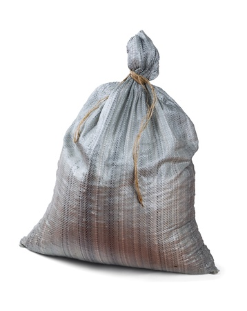Grey plastic woven sack isolated on white