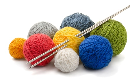 Color yarn balls and knitting needles isolated on white