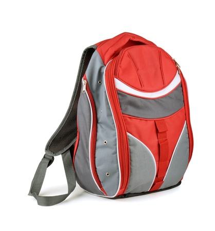 Red and gray backpack isolated on white
