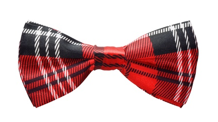 Red black plaid bow tie isolated on white
