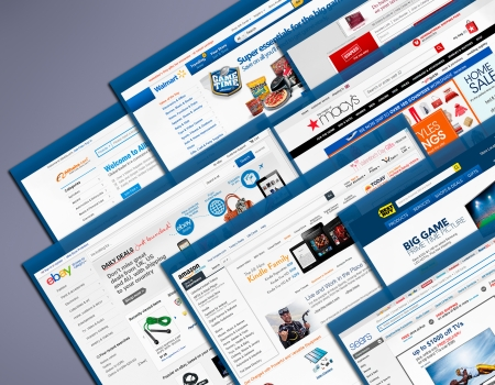Samara, Russia - January30, 2013:  Main pages of  the most popular shopping websites.のeditorial素材