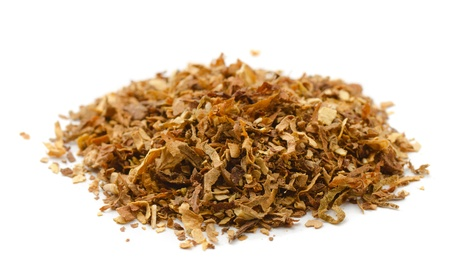 Photo pour Pile of dried tobacco isolated on white - image libre de droit