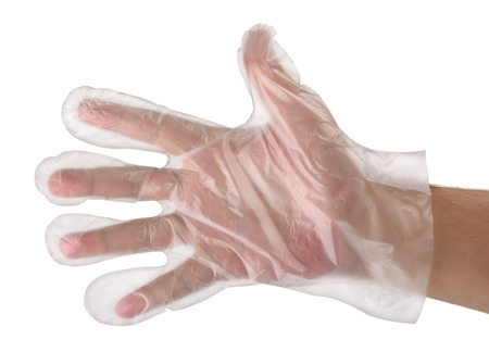 Man hand wearing disposable plastic glove