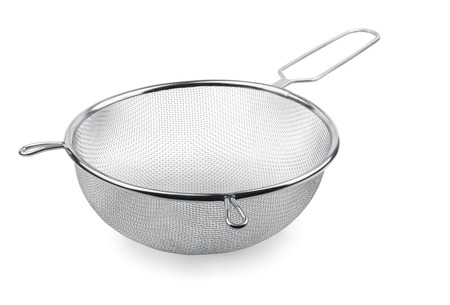 Metal kitchen sieve isolated on white