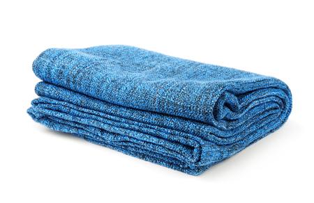 Photo for Folded blue warm blanket isolated on white - Royalty Free Image