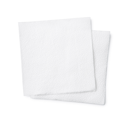 Top view of two paper napkin isolated on white