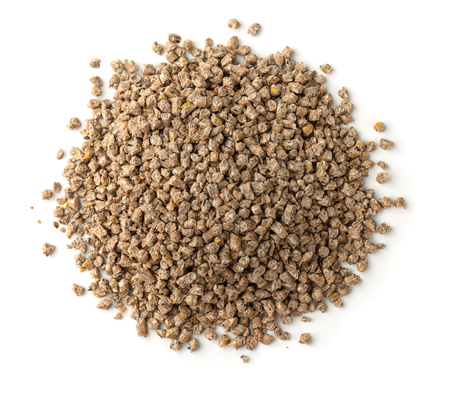Photo pour  Top view of compound feed pellets isolated on white - image libre de droit