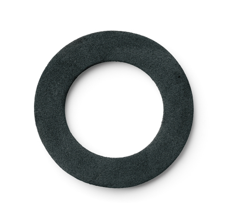Top view of neoprene ring rubber gasket isolated on white