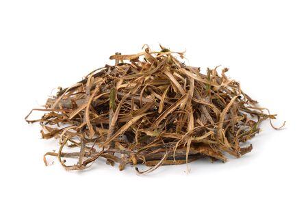 Foto de Pile of dried oak bark stripes isolated on the white - Imagen libre de derechos