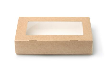 Photo pour Front view of kraft paper box with transparent window isolated on white - image libre de droit