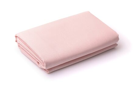 Photo pour Folded cotton bedding sheets isolated on white - image libre de droit