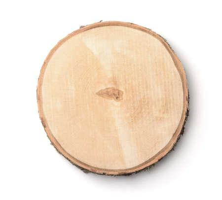 Foto de Top view of birch tree trunk cross section isolated on white - Imagen libre de derechos