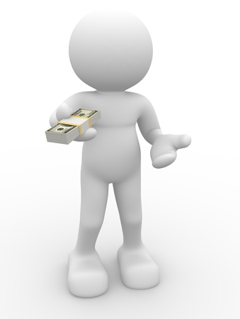 3d person character giving a stack of U.S. dollars - This is a 3d render illustation