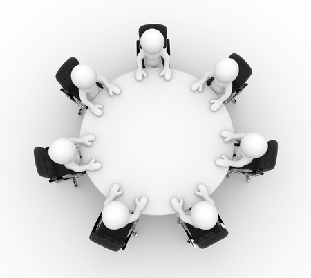 3d people at the conference table with seating business - This is a 3d render illustration
