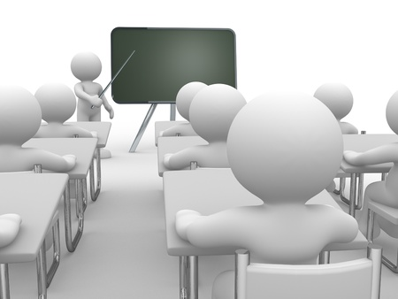 3d people - human character , person with pointer in hand close to blackboard  Concept of education and learning   3d render illustration
