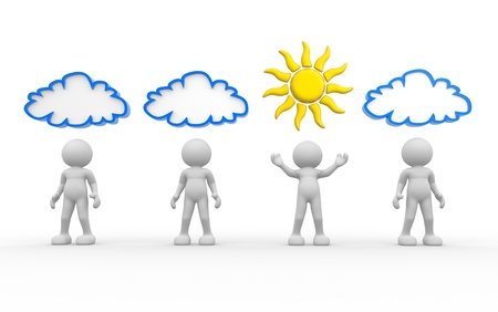 3d people- human character with sun and cloud over the head  3d render illustration