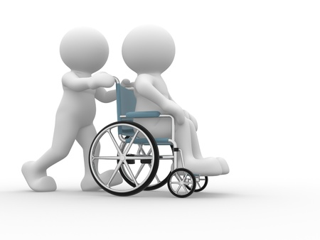 3d people human character in a wheelchair  This is a 3d render illustration