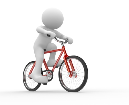 3d people - human character  - running on bicycle  3d render illustration