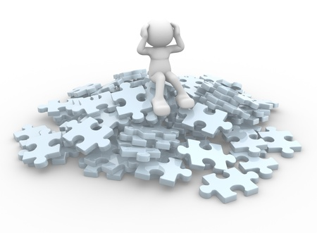 3d people - human character sits over on a pile of puzzle pieces  3d render illustration