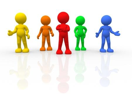 3d people - human character - different men  3d render illustration