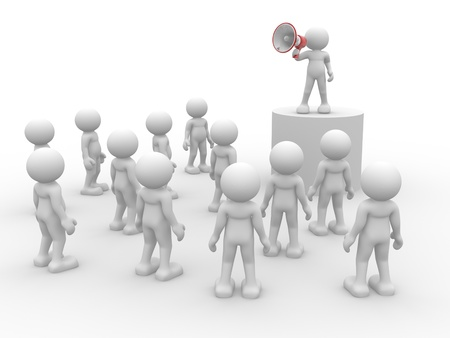 3d people- human character speaking at megaphone in front of the crowd  3d render illustration