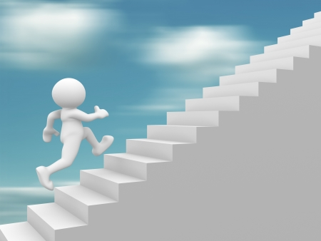 3d people - human character climb the  staircase - stair  3d render illustration