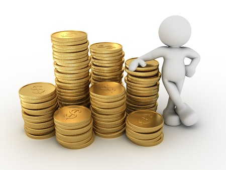 3d people - human character and a stack of coins  3d render illustration