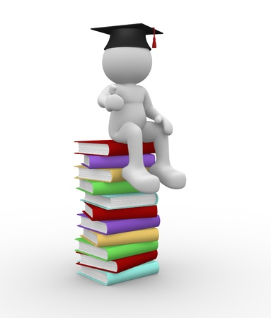 3d people - human character  person with books and  graduation cap. 3d render illustration