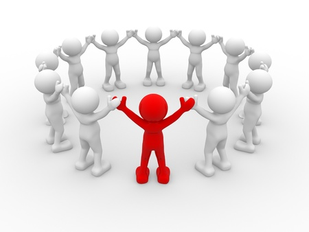 3d people - human character, leadership and people in circle. This is a 3d render illustration
