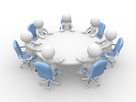3d people - human character  person at a round conference table with chairs. Business meeting.  3d render