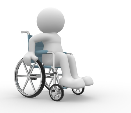 3d people - human character ,  person in a wheelchair .  3d render illustration