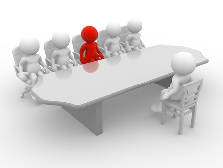 3d people - human character, employee and employer in the meeting. 3d render