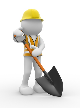 3d people - human caracter ,  person  with a shovel.  3d render illustration