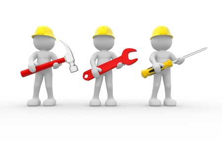 3d people - human character, team of construction workers with equipment.  3d render illustration