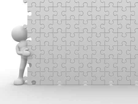 3d people - human character and a wall of the puzzle - jigsaw. This is a 3d render illustration