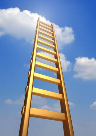 Ladder reaching into a blue sky and clouds .  3d render illustration
