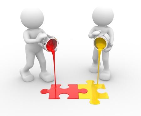 Foto de 3d people - human character and colorful puzzle( jigsaw). 3d render illustration   - Imagen libre de derechos