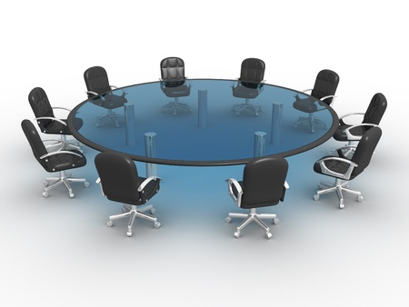 Glass conference table . 3d render