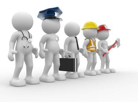 3d people - human character, person with different professions. Doctor, policeman, businessman, engineer, fireman. 3d render