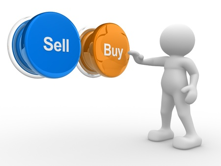 3d people- human character , person pressing a button   Buy   or   Sell   3d render illustration