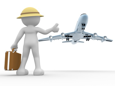 Foto de 3d people - human character, person  with a suitcase and a airplane   Concept of travel  Hitchhiking  3d render - Imagen libre de derechos