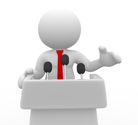 3d people - human character , person speaking from a tribune. Speech . 3d render