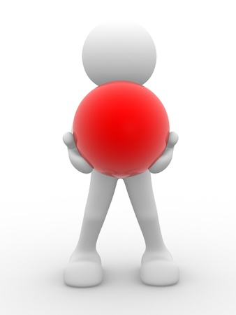 3d people - human character, person and a red sphere. 3d render