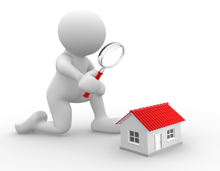 3d people - man, person with a magnifying glass and a house. Search concept.