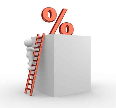 3d people - men, person on a ladder and a percent. To Success