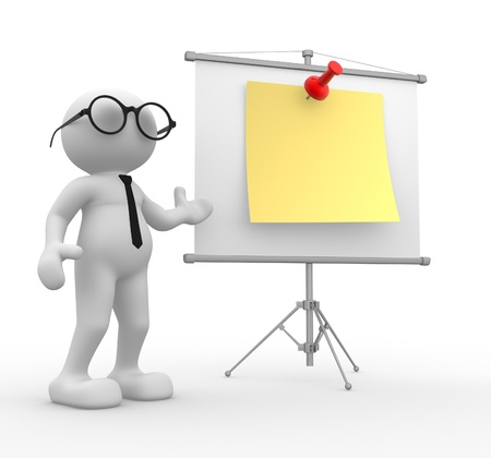 3d people - man, person with flip-chart. Businessman