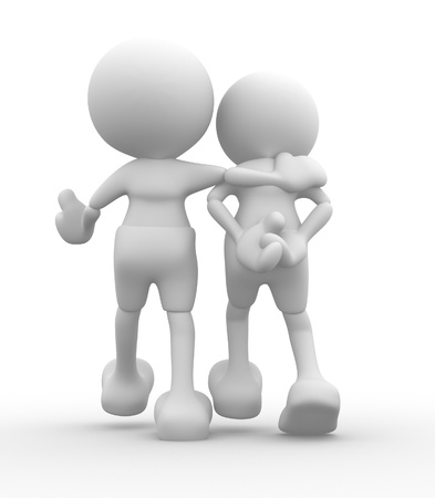 3d people - men, person walking with to hands behind and a friend  Concept of friendship