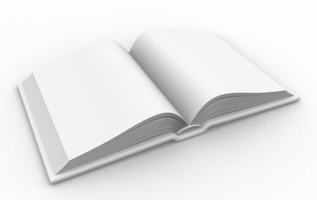 3d open blank book.