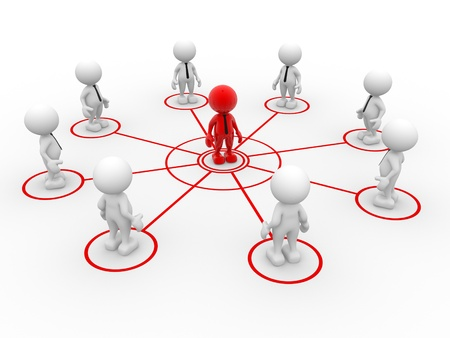3d people - man, person arranged in a network. Teamwork and leadership